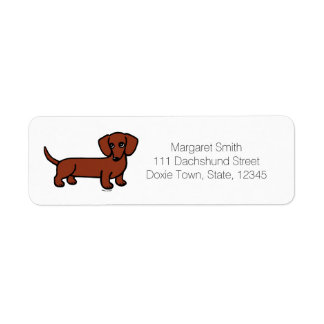 Red Smooth Haired Dachshund 2 Return Labels