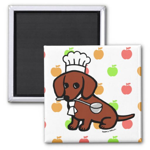 Red Smooth Haired Dachshund Chef Magnet