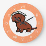Red Smooth Haired Dachshund Flowers Clock