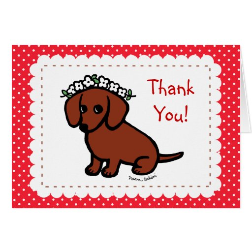 Red Smooth Haired Dachshund Flowers Greeting Card