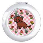 Red Smooth Haired Dachshund Flowers Vanity Mirror