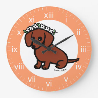 Red Smooth Haired Dachshund Flowers Wall Clock
