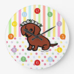 Red Smooth Haired Dachshund Flowers Wallclocks