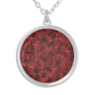 Red Snake Print Round Pendant Necklace