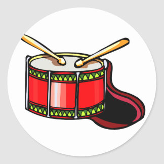 Red snare drum graphic classic round sticker