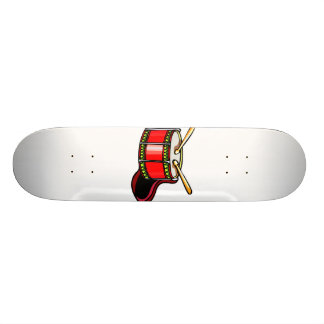 Red snare drum graphic skateboard deck