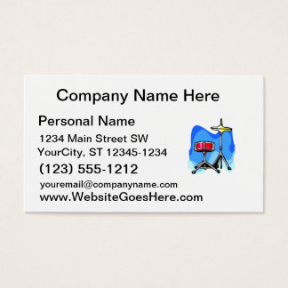 Red snare drum hihat cymbals blue background business card