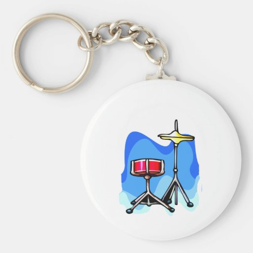 Red snare drum hihat cymbals blue background keychain