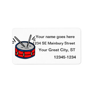 Red Snare Drum Two Sticks Graphic Music Designv Personalized Address Labels