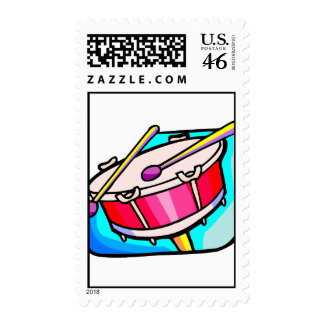 Red Snare Drum with mallets Stamp