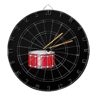 red snare graphic with sticks dartboard with darts