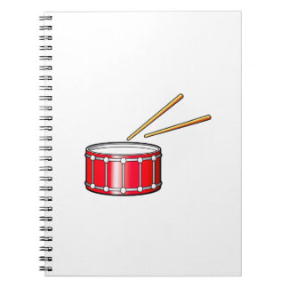 red snare graphic with sticks notebook