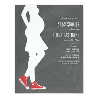 Red Sneakers Baby Bump Baby Shower Card