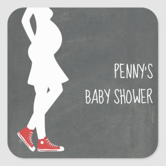 Red Sneakers Baby Bump Baby Shower Square Sticker