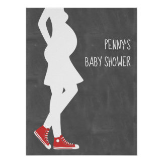Red Sneakers Baby Shower Poster