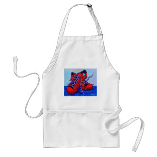 Red Sneakers Two Adult Apron