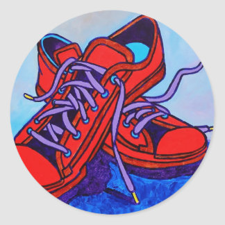 Red Sneakers Two Classic Round Sticker