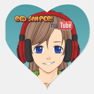 Red Sniper glossy sticker! Heart Sticker