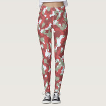 Red/Snow Camouflage Leggings