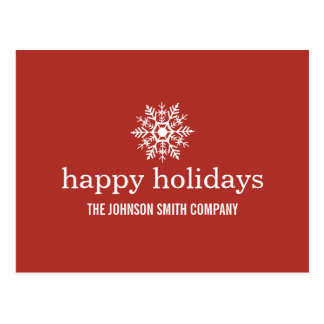 Red Snow Flake Christmas Business Post Cards
