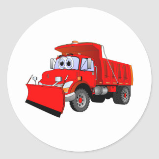 Red Snow Plow Cartoon Classic Round Sticker