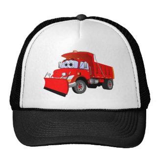 Red Snow Plow Cartoon Mesh Hats
