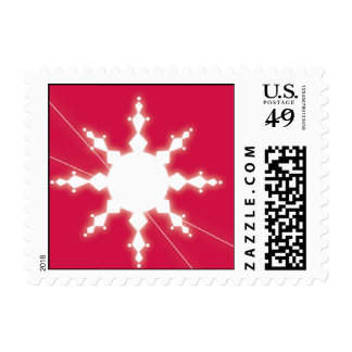 Red Snow Star Postage Stamps