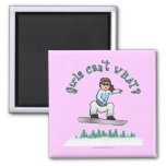 Red Snowboarder 2 Inch Square Magnet