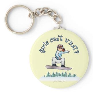 Red Snowboarder Basic Round Button Keychain