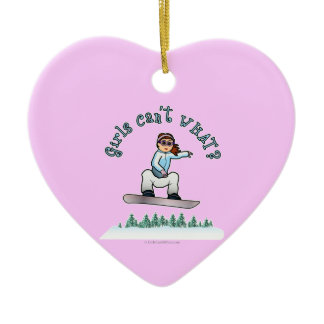 Red Snowboarder Double-Sided Heart Ceramic Christmas Ornament