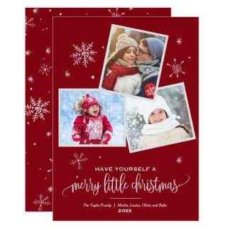 Red Snowflake | 3 Photo Christmas Card