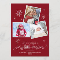 Red Snowflake | 3 Photo Christmas Holiday Card