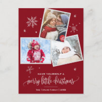 Red Snowflake | 3 Photo Christmas Holiday Postcard