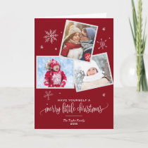Red Snowflake | 3 Photo Christmas Photo Holiday Card
