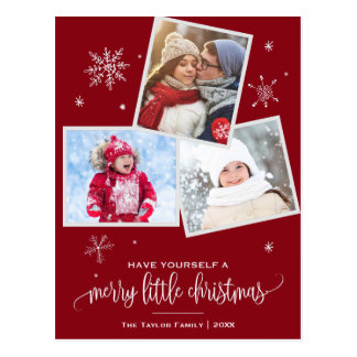 Red Snowflake | 3 Photo Christmas Postcard