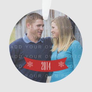 Red Snowflake Banner Holiday Photo Ornament