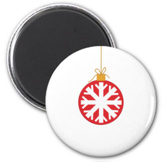Red Snowflake Bauble Magnet