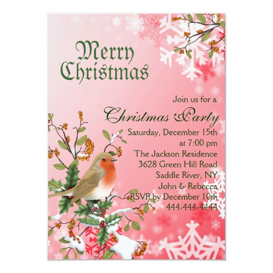 Red Snowflake & Berry Christmas Party Invitation