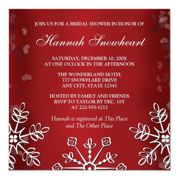 RED SNOWFLAKE BRIDAL SHOWER INVITATION