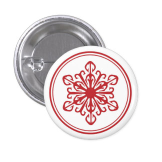 Red Snowflake Button