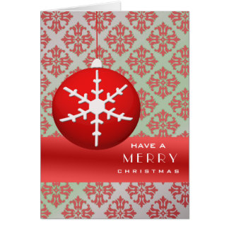 Red Snowflake Christmas Ornament Cards