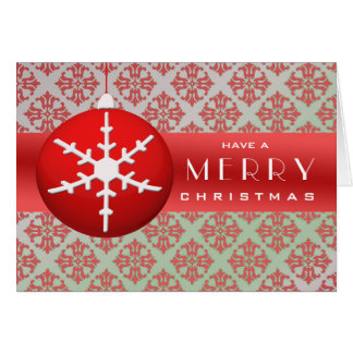 Red Snowflake Christmas Ornament Greeting Cards