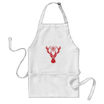 Red Snowflake Deer Holiday Party Adult Apron