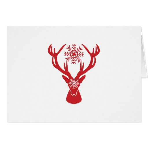 Red Snowflake Deer Holiday Party Card  Zazzle