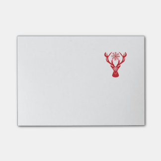 Red Snowflake Deer Holiday Party Post-it Notes