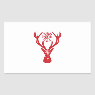 Red Snowflake Deer Holiday Party Rectangular Sticker