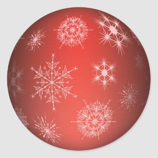 Red Snowflake Holiday Ornament Sticker