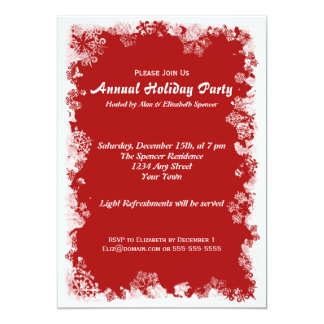 Red Snowflake Holiday Party Card