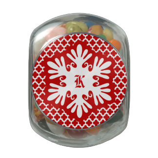 Red Snowflake Initial Jelly Belly Candy Glass Jars