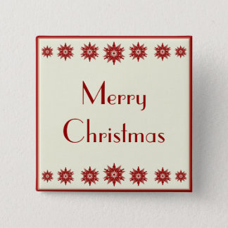 Red Snowflake Merry Christmas Button
